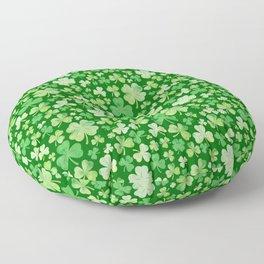 Lucky Green Watercolour Shamrock Pattern Floor Pillow
