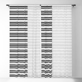 The Piano Black and White Keyboard with Horizontal Stripes Blackout Curtain