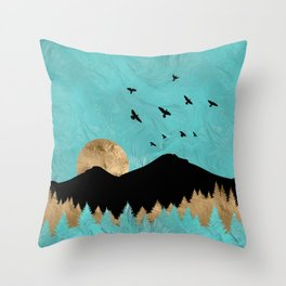 Gold and Teal Abstract Landscape Throw Pillow