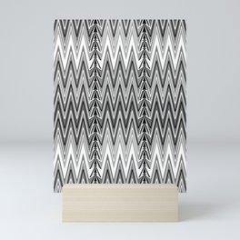 Flame Stitch Pattern, Gray, Black and White Mini Art Print