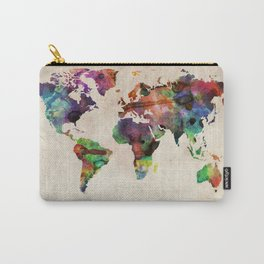 World Map Urban Watercolor Carry-All Pouch