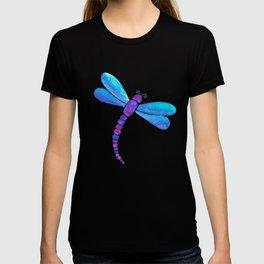 Blue dragonfly pattern T-shirt