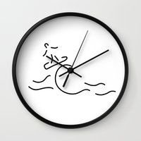 surfboard Wall Clocks featuring surfer surfboard by Lineamentum