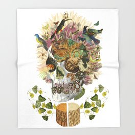 """memento mori"" anatomical collage art by bedelgeuse Throw Blanket"