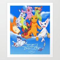 digimon Art Prints featuring Digimon Tri by Kazenishi