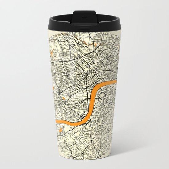 London Map Moon Metal Travel Mug