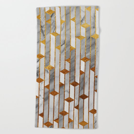 Marble skyscrapers Beach Towel