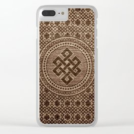Endless Knot Decorative on Wooden Surface Clear iPhone Case