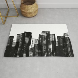 Rolled Ink Texture in Black and White Rug
