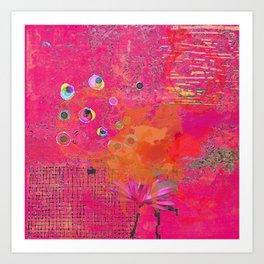 Hot Pink & Orange Abstract Art Collage Art Print