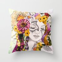 flora Throw Pillows featuring Flora by Jenndalyn