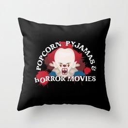 Scary Popcorn Pyjamas And Horror Movies Clown Throw Pillow