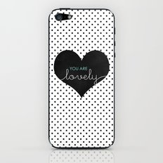 You Are Lovely - Typography, Charcoal Heart, & Black Polka Dots iPhone & iPod Skin