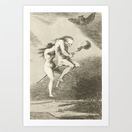 Witches on a Broomstick by Francisco Goya, 1797 Art Print