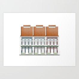 Singapore Shophouses Facade Study 2 Art Print