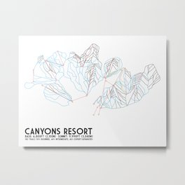 Canyons Resort, UT - Minimalist Trail Art Metal Print