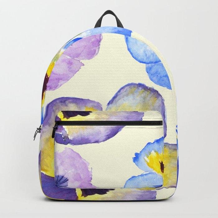 pansies pattern watercolor painting Backpack