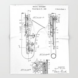 Selmer Saxophone Patent - Saxophone Art - Black And White Throw Blanket