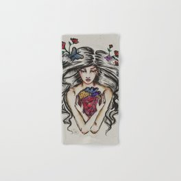 be still my beating heart anitomical love valentine tattoo brunette Hand & Bath Towel