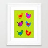 scandinavian Framed Art Prints featuring Scandinavian Birds by The Red Umbrella 5