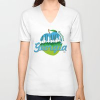 atlanta V-neck T-shirts featuring Downtown Atlanta Georgia by Niels Revers Design