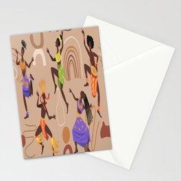 African female dancers. Cartoon aboriginal people dancing folk ritual dance modern vector poster. Stationery Cards