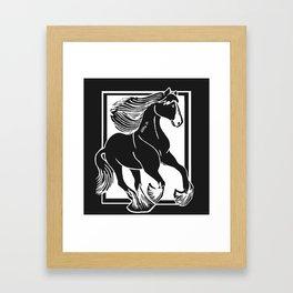 Black and White Shire Horse Art Framed Art Print