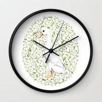 duck Wall Clocks featuring Duck by Erik Krenz
