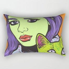 girl with cat Rectangular Pillow
