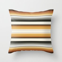 Navajo White, Gray, Black and Amber Brown Southwest Serape Blanket Stripes Throw Pillow