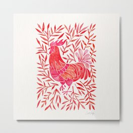 Le Coq – Watercolor Rooster with Red Leaves Metal Print