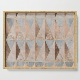 Copper Foil and Blush Rose Gold Marble Triangles Argyle Serving Tray