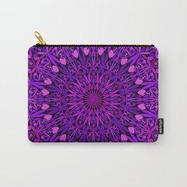 Purple Leaves Kaleidoscope Mandala Carry-All Pouch