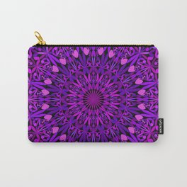 Purple Leaves Kaleidoscope Mandala Carry-All Pouch