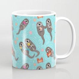 Otters Playing - Aquamarine Background Coffee Mug