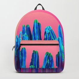 Candy Sunset Blue Cactus Glitch Backpack