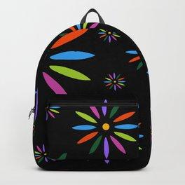 Flower Art in Multicolor - Black Backpack