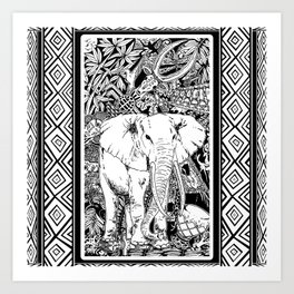 White Elephant Indian Ink Tribal Art Art Print