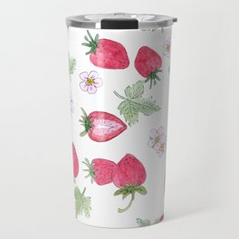 Watercolor . Strawberry on a White background . Travel Mug