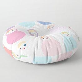 dolls matryoshka on white background, pastel colors Floor Pillow