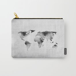 World Map - Hammered Metallic Monochrome Carry-All Pouch