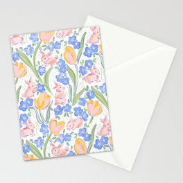Bunnies and Tulips Stationery Cards