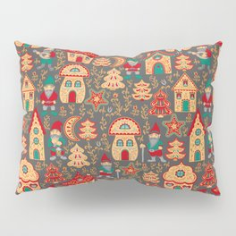 Fairy gnomes and magic houses.  Christmas trees, months and stars. Pattern in folk style. Pillow Sham