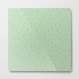 Japanese Scroll Pattern in Green & Yellow Metal Print