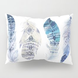 Boho Blue Watercolor Feathers Pillow Sham