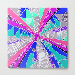 psychedelic geometric pattern drawing abstract background in blue pink purple Metal Print