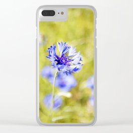Bachelor Buttons Glowing Clear iPhone Case