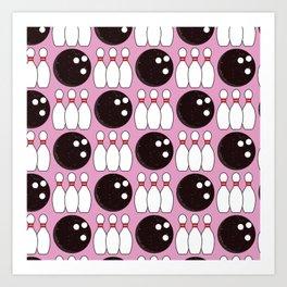 Bowling Pattern (Pink/Black) Art Print