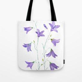 purple wildflower harebell watercolor Tote Bag