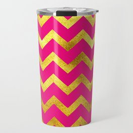 Pink & Gold Chevron Travel Mug